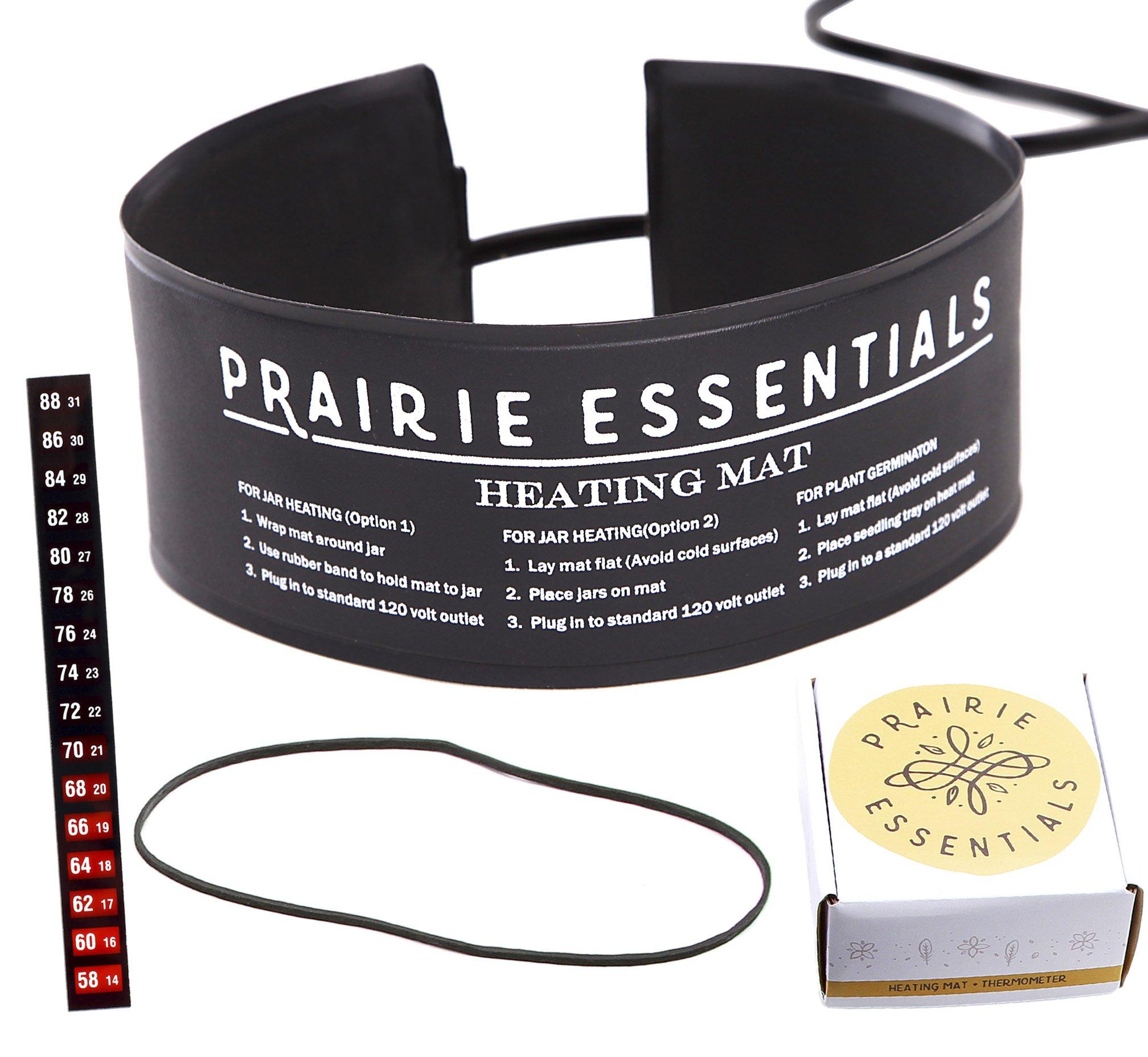 Prairie Essentials 3x20 inch Strip Wrap Around Heating Pad Warming Heat Mat & Thermometer for Kombucha Tea & Beer Brewing, Fermentation, Seedlings & Plant Germination (1, 3'' x 20'')