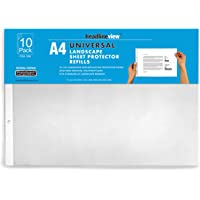 Headlineview Universal A4 Refill Pack of 10 polyproplyne Clear Pocket Non–Reflective Sheet Protectors – Landscape (1898)