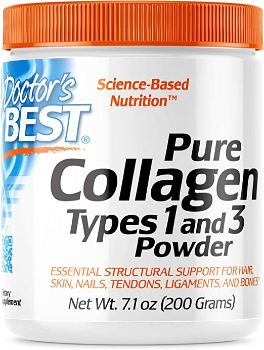 Doctors Best, Colágeno, tipos 1 y 3 en polvo, 200 g, sin soja, sin gluten