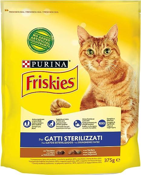 Friskies pienso para Gatos sterilizzati, con Pavo y Verduras aggiunte, 375 g – Paquete de 12 Unidades