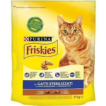 Friskies pienso para Gatos sterilizzati, con Pavo y Verduras aggiunte, 375 g - Paquete de 12 Unidades: Amazon.es: Productos para mascotas