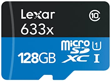 Lexar High-Performance microSDXC 633x 128GB UHS-I Card w/SD Adapter - LSDMI128BBNL633A Micro SD Cards at amazon