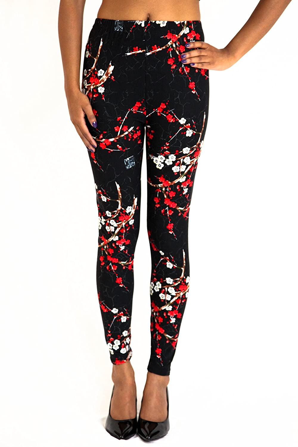 Women Plus Leggings Size 14-22 Red Floral Print Tights Black Stretchy Pants