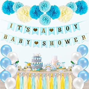 Sekcen Baby Shower Decorations for Boy 57 Pcs It's A Boy Baby Shower Decor Kit with Banner, Tassels, Balloons, Tissue Pom Poms