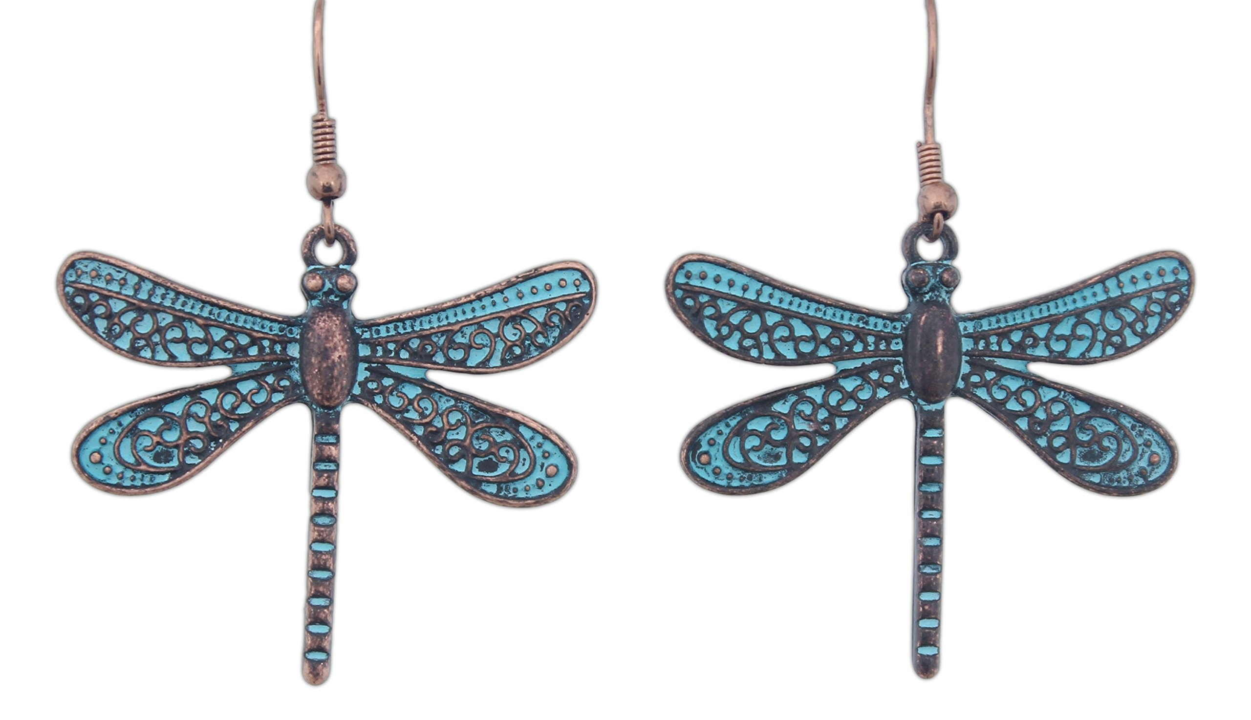 Rain 2'' Copper Turquoise Patina-Style Dragonfly Earrings