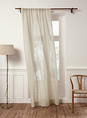 Solino Home 100 Pure Linen Sheer Curtain 52 x 120 Inch Light Natural Rod Pocket Window Panel Handcrafted from European Flax