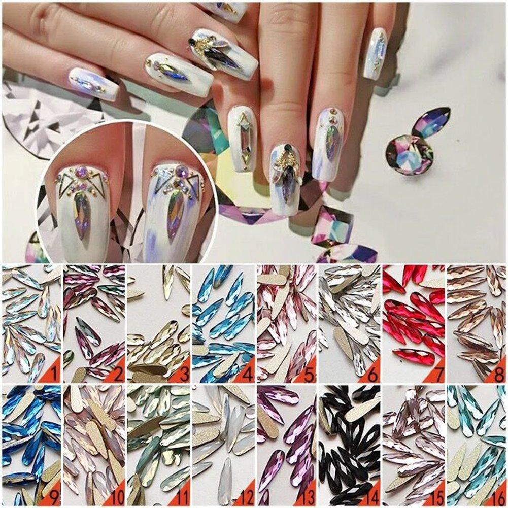 Amazon.com: Mixed Color 100pcs Nail Art Long & Flat Back Dorp ...