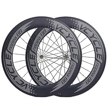 VCYCLE Nopea 700C Carreras de Carretera de Carbono Bicicleta Remachador Ruedas 88mm UD Mate de 23mm de Ancho Recto Shimano o Sram 8/9/10/11 Velocidades: ...
