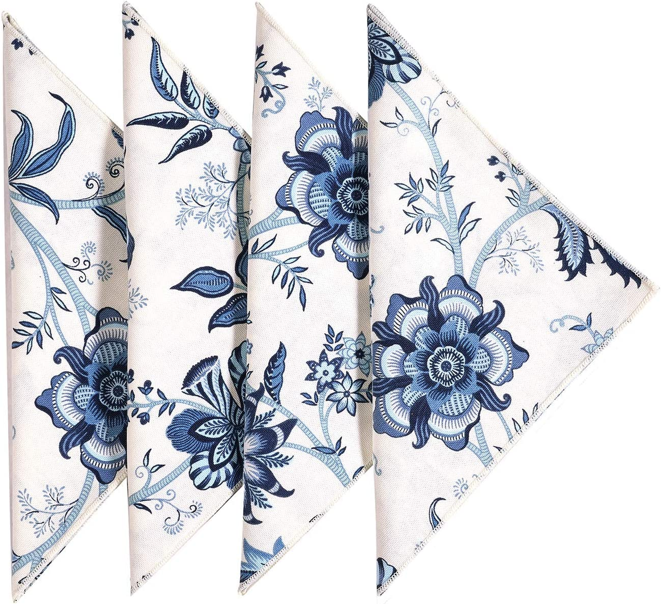 Amazon Com Cloth Napkins Table Linens Dinner Napkins 18 X18 White Blue Cotton Floral Fabric Set Of 12 Kitchen Dining