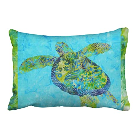 Emvency Pillowcases Batik Honu Sea Turtle Polyester Pillow Cover 20 X 30 Inch Queen Size Rectangle Sofa Cushion Decorative Pillowcase With Hidden