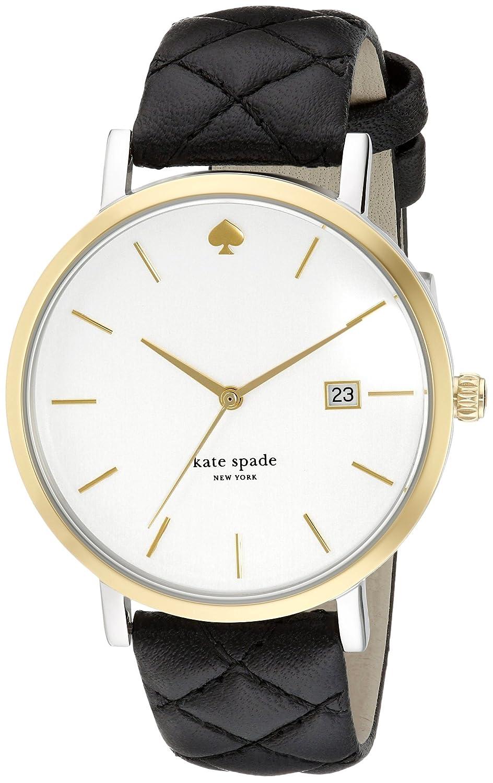 Kate Spade Damen-Armbanduhr Armband Leder Schwarz GehÄuse Edelstahl Quarz Zifferblatt Silber 1YRU0125