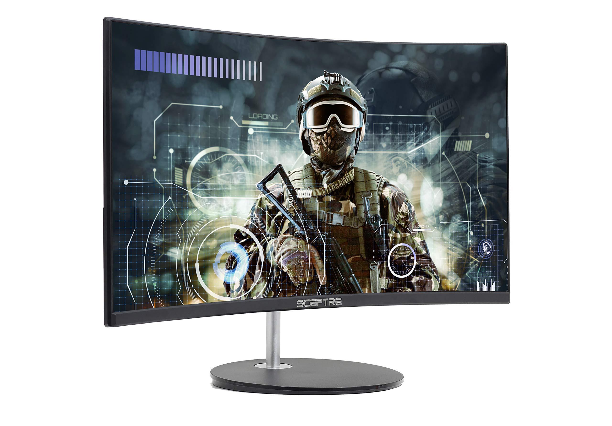 "Sceptre 24"" Curved 75Hz Gaming LED Monitor Full HD 1080P HDMI VGA Speakers, VESA Wall Mount Ready Metal Black 2019 (C248W-1920RN) 2"
