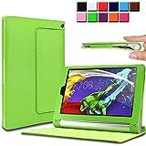 Infiland Lenovo YOGA Tablet 2 SIMフリー 8インチ 超薄型 超軽型レザー保護ケース スマートカバー スタンドケース (Lenovo YOGA Tablet 2 8インチ, グリーン)