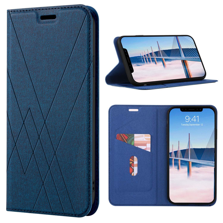 DUEDUE iPhone XRケース、iPhone XR / 6.1インチ用ケース、キックスタンド付きFolioフリップカバー、およびクレジットカードスロットダイヤモンドストライプキャンバスクロスデザインファブリックレザーケース(iPhone XR、男性用)、ブルー   B07H52HZ8G