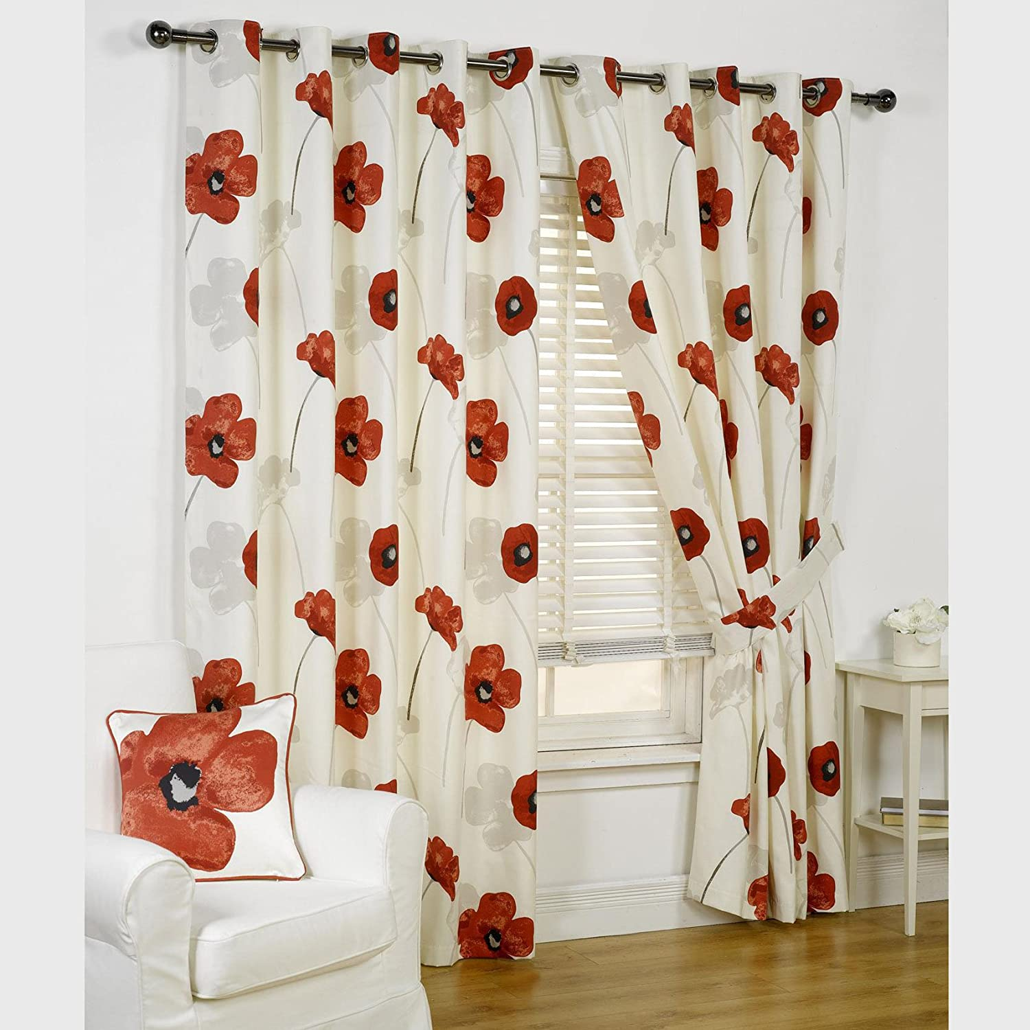 Opium Poppy Floral Design Fully Lined Readymade Eyelet Curtains
