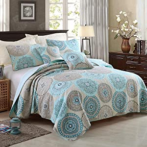 YAYIDAY 100% Cotton Bedspread Quilt Set King Size 3Pcs - Breathable Bed Blanket Aqua Blue Floral Quilted Coverlet with Pillow Shams - Farmhouse Country Rustic Bohemian Pattern