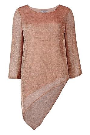 7228330f20b0d8 Per Una Rose Gold Metalised Yarn Asymmetric Layered Tunic Top Size 6:  Amazon.co.uk: Clothing