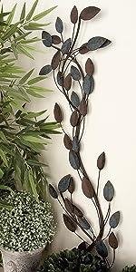 Deco 79 63340 Metal Leaf Wall Decor, 12 by 48-Inch