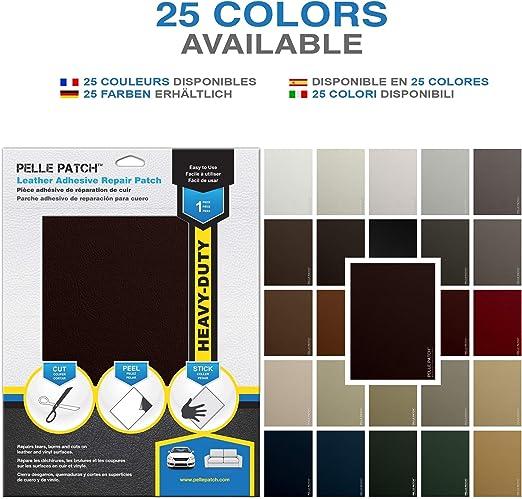 Pelle Patch Disponible en 25 Colores Crema Parche Adhesivo de reparaci/ón para Cuero y Vinilo Heavy-Duty 20cm x 28cm