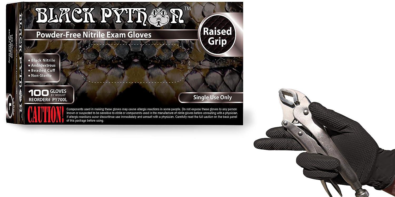 7 mil Powder Free BLACK PYTHON Black Nitrile Gloves 200 Gloves Size X-LARGE