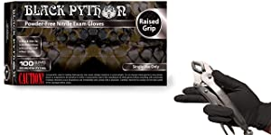 Black Python 7 Mil Thick Heavy Duty Powder Free Nitrile Exam Gloves w/Tactical Grip, (XX-Large (Case of 900))