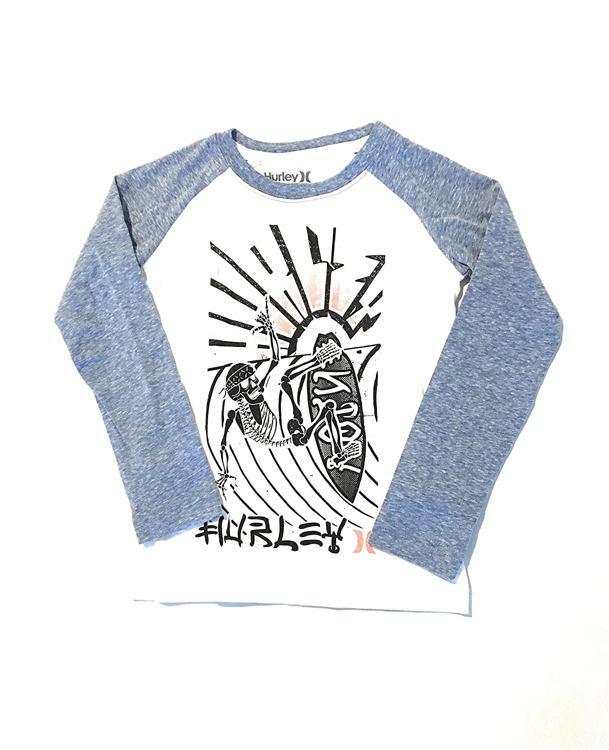 Hurley Little Boys Skeleton Surfer Raglan T-Shirt White Size 6