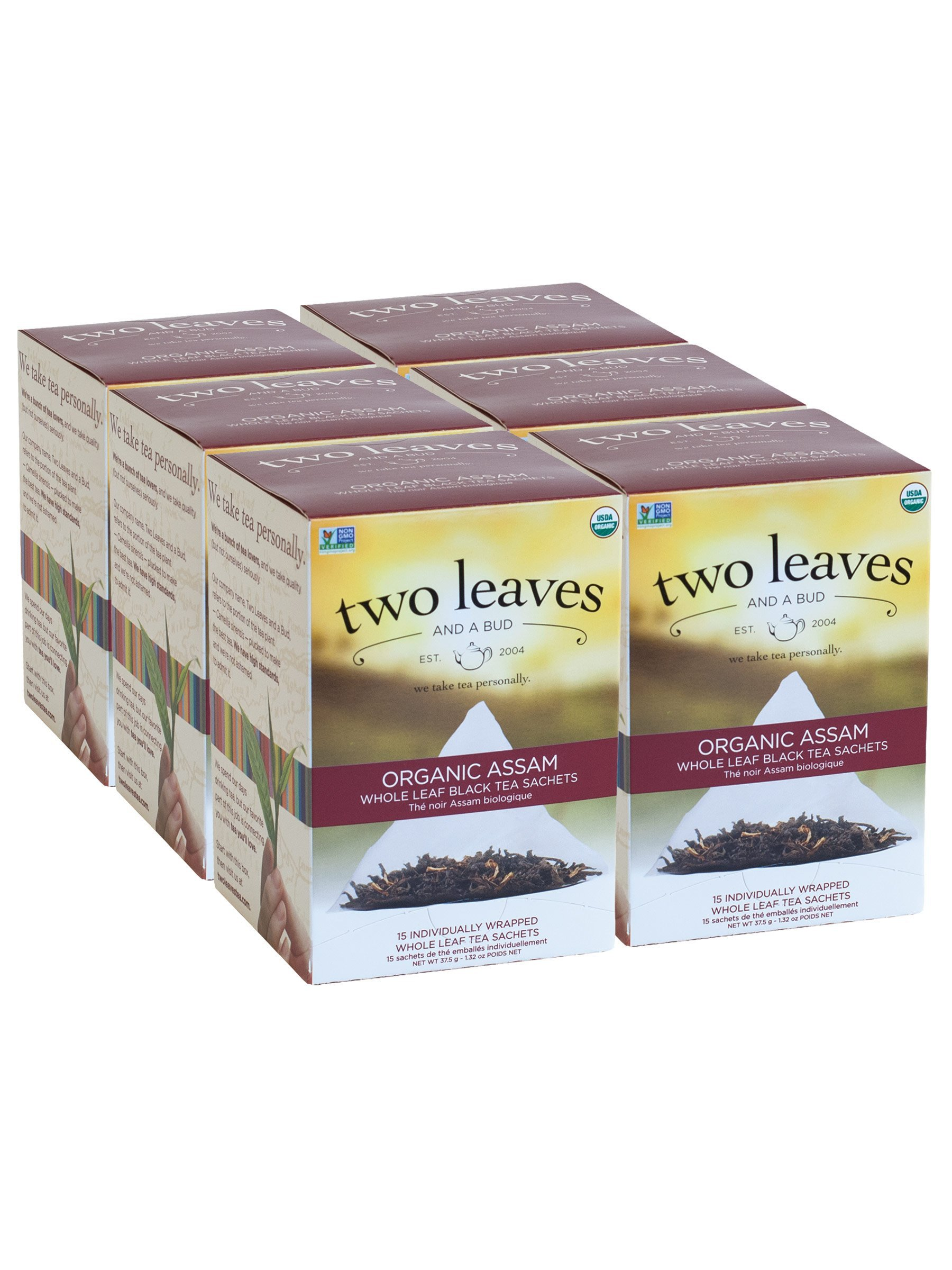 Two Leaves and a Bud Organic Assam Black Tea Bags, 15 Count (Pack of 6) Organic Whole Leaf Full Caffeine Black Tea in Pyramid Sachet Bags, Delicious Hot or Iced with Milk or Sugar or Honey or Plain