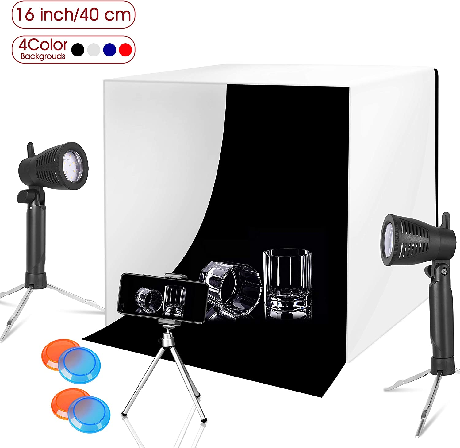 Funiee 16 X 16 Inch Lighting Photography Studio Box Kit Tabletop Photo Light Shooting Tent Portable Table Top Tripod Stand Holder for Phone