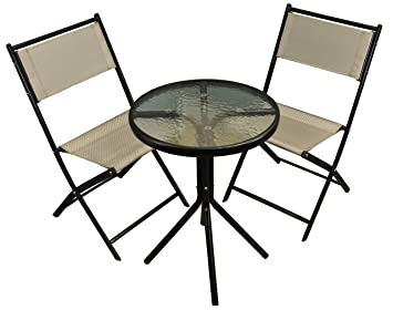 Juego de jardín de metal Selections con sillas plegables de color gris