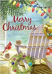 "Texupday Merry Christmas Beach Chair Cardinal Tropical Plants Wreath Decoration Winter Garden Flag Outdoor Yard Flag 12"" x 18"""