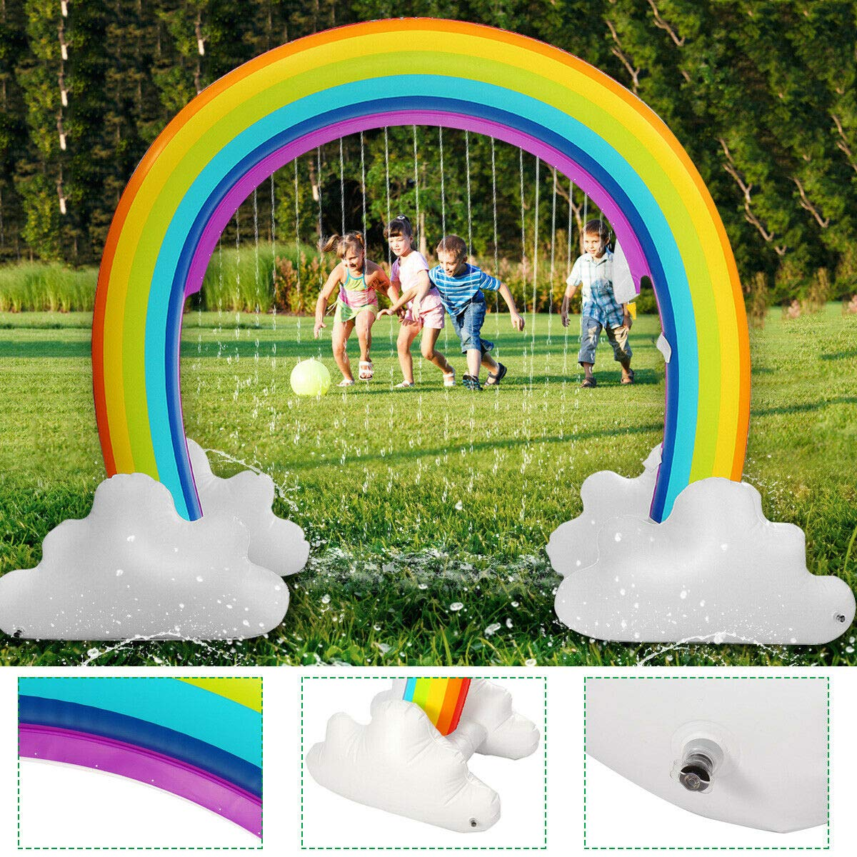 MerryXD Rainbow Sprinkler,Giant Water Inflatable Arch Sprinkler Outdoor Summer Toys for Kids by MerryXD (Image #7)