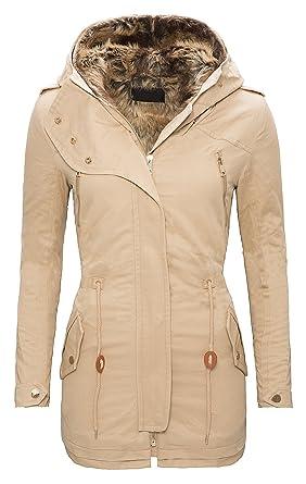 Rock Creek Selection Damen Baumwoll Winter Parka Mantel Teddyfell gefütterte Jacke lang Beige Schwarz Khaki Grün D 100 S XXL