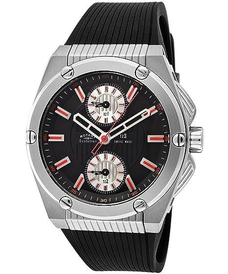Rotary Evolution - Reloj cronógrafo de Cuarzo para Hombre con Correa de plástico, Color Negro: Amazon.es: Relojes