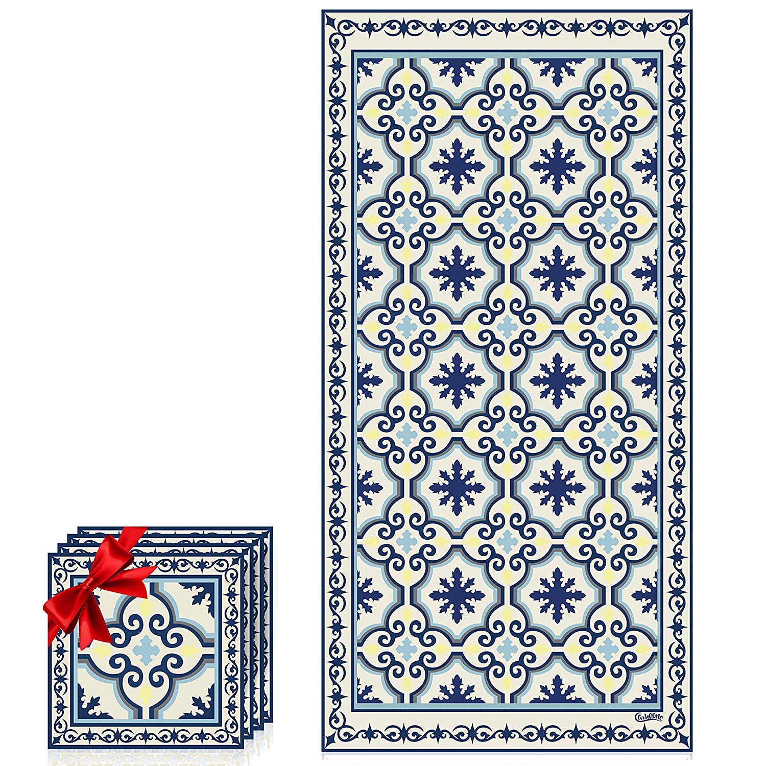 Camoone Non Slip Kitchen Mat + 4 Free Coasters - (Greek Garden) Blue & Off-White Decorative Vinyl Kitchen Floor Mat - Hypoallergenic, Insulated, Non-Fading, Easy to Clean and Non-Toxic''47.2x23.6x0.08'' by Camoone (Image #2)
