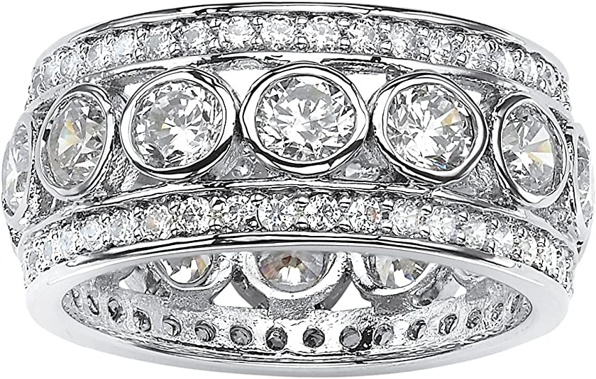 Details about  /Sterling Silver Eternity Band Ring Four Row Clear Cubic Zirconia Stones J JAZ