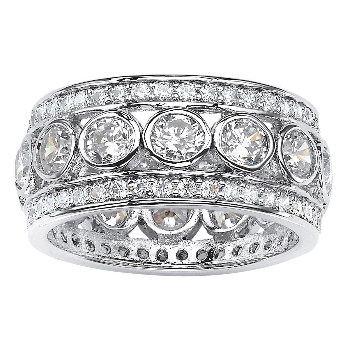 Round White Cubic Zirconia Platinum over .925 Silver Bezel-Set Triple-Row Eternity Ring Size 7