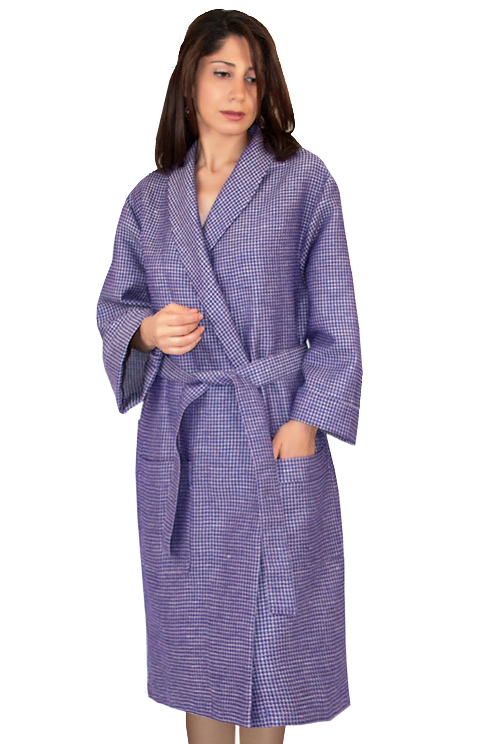 Bath Robe (Large) Linen-Cotton Waffle, Prism Violet-beige