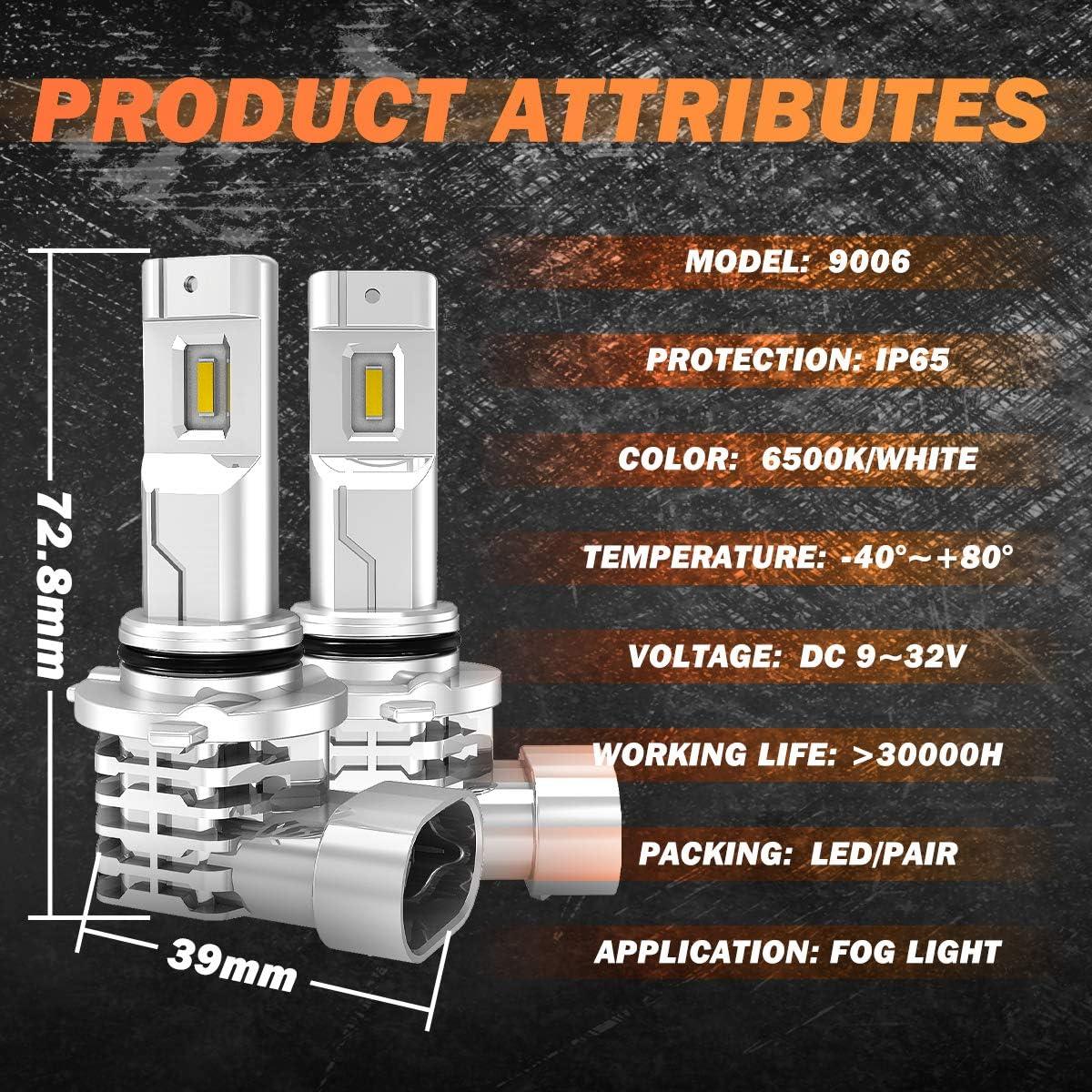 Pack of 2 32V 2 Yr Warranty NATGIC HB4 9006 LED Fog Light Bulbs Hight Power 55W Super Bright CSP Chips Replacement for Daytime Running Light Driving Lamp 3200LM /& 6500K Xenon White DC 9V