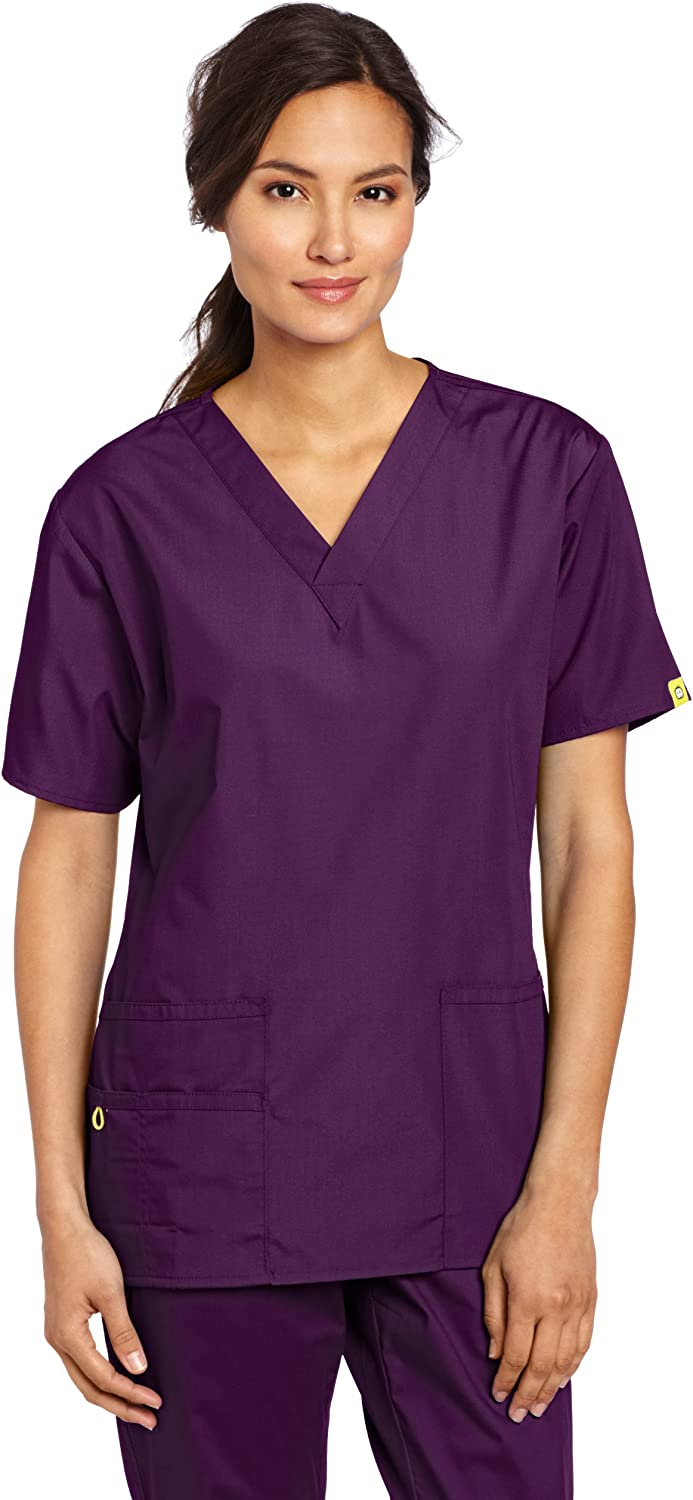 WonderWink Women's Plus Size Scrubs Bravo 5-Pocket V-Neck Top: Medical Scrubs Shirts: Clothing