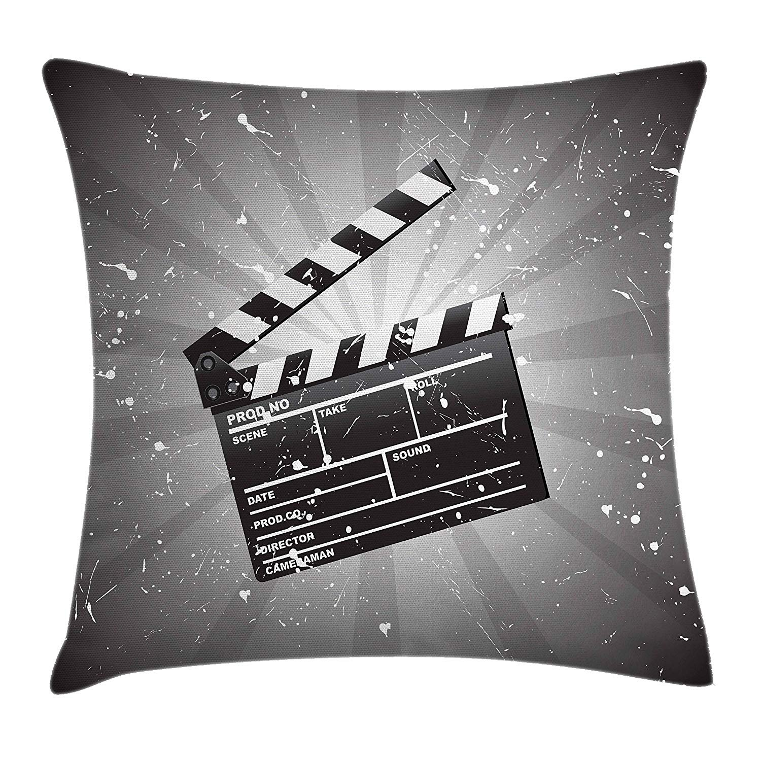 Queen Area Movie Theater Clapper Board on Retro Backdrop with Grunge Effect Director Cut Scene Square Throw Pillow Covers Cushion Case for Sofa Bedroom Car 18x18 Inch, Grey Black White