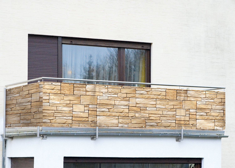 Ehrfürchtige Balkon Sichtschutz Steinmauer
