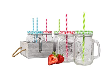 Glass Mason Drinking Jars With Handle Wooden Carrier With Reusable Straws Lids Handles Set Of 6 16oz