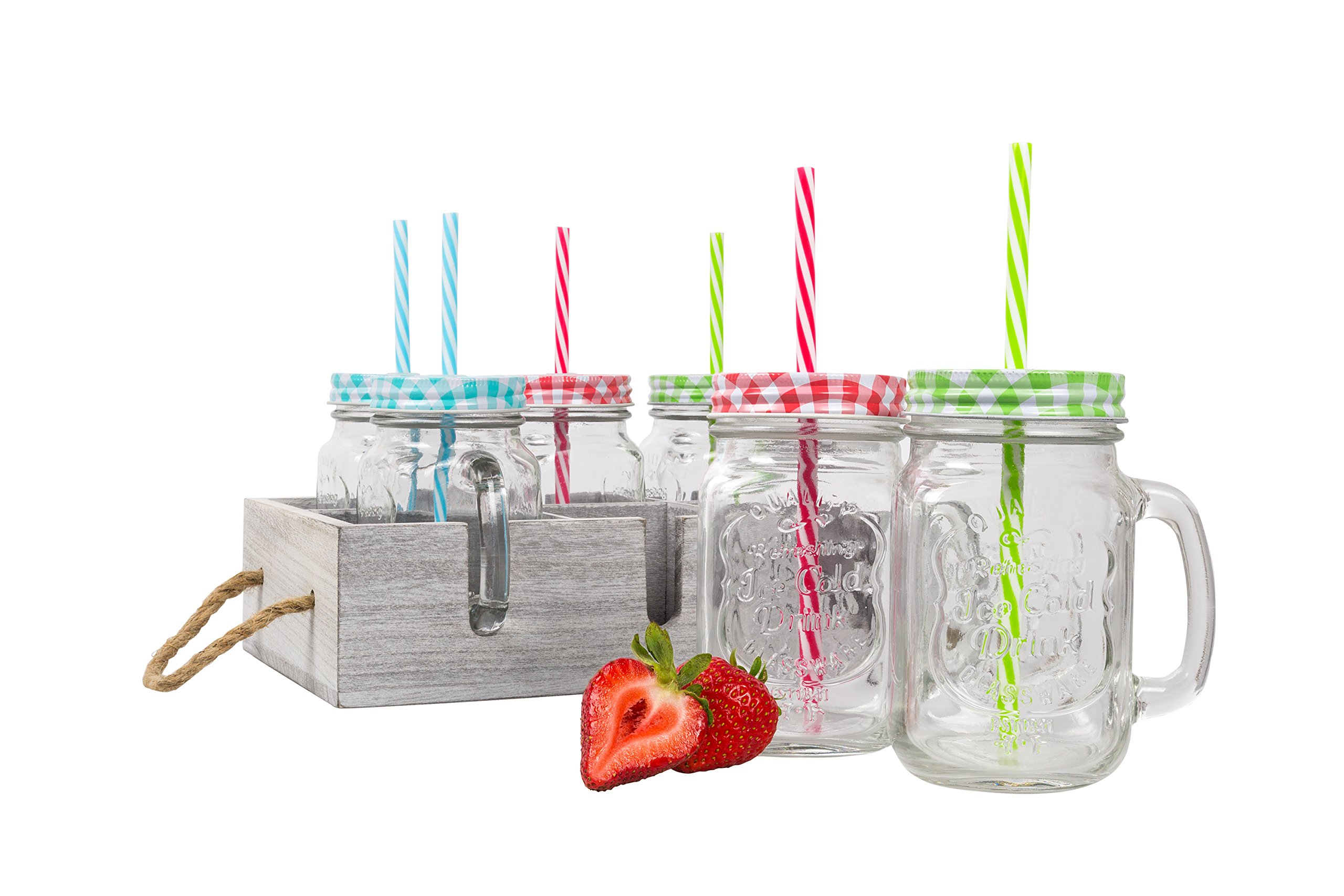 Glass Mason Drinking Jars with Handle & Wooden Carrier with Reusable Straws, Lids & Handles Set of 6, 16oz
