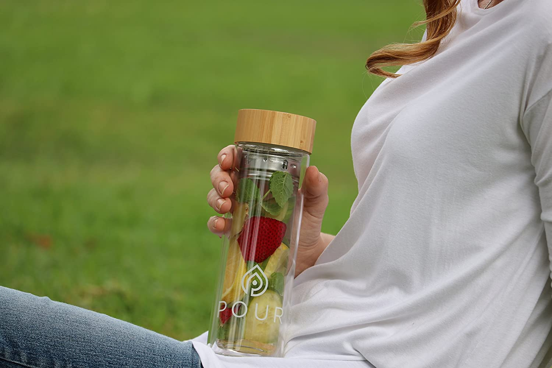 Pour doble pared aislante botella con infusor de té (cristal de borosilicato con estanca tapa de bambú y funda | Fine Infusiones y parte inferior de grosor ...