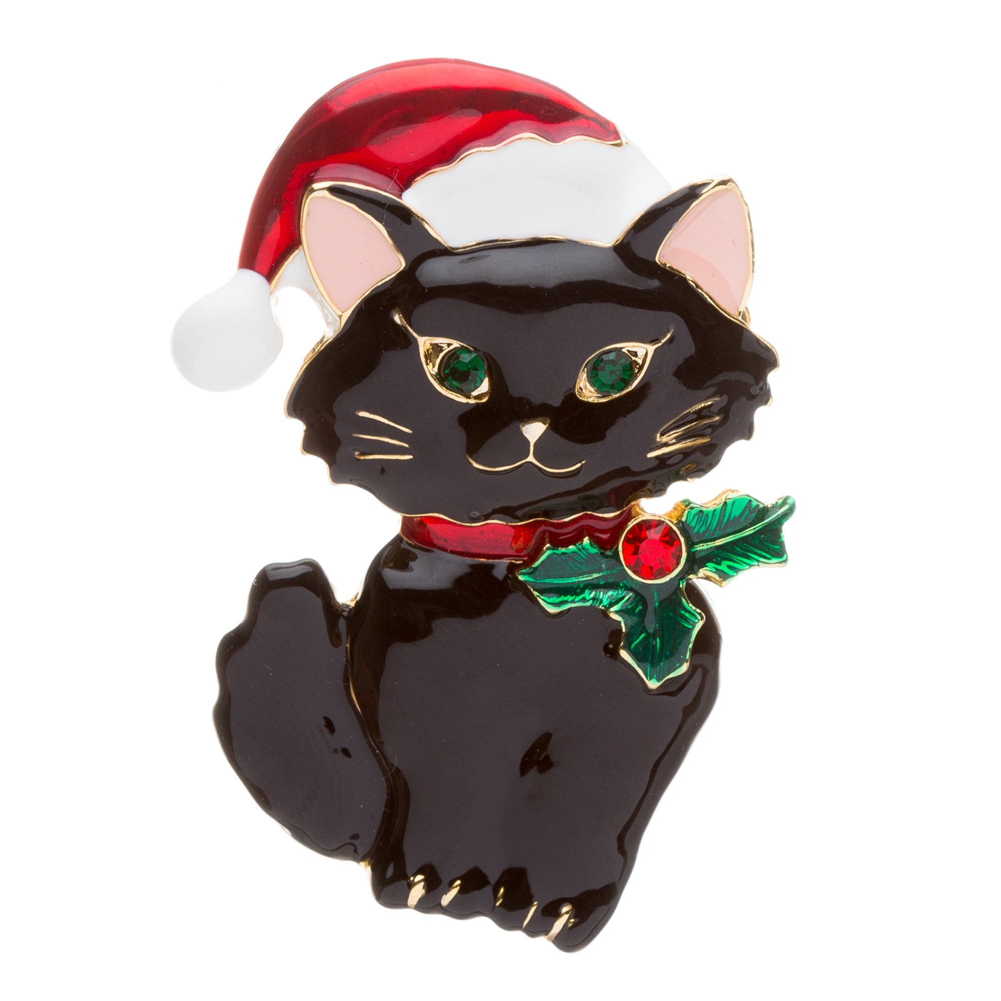 Christmas Jewelry Crystal Rhinestone Cute Santa Hat Black Cat Charm Brooch Pin