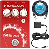 TC Helicon Mic Mechanic 2 Vocal Effects Pedal Bundle with Blucoil Slim 9V Power Supply AC Adapter
