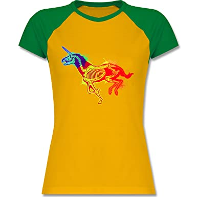 Shirtracer Einhörner - Einhorn Skelett - S - Gelb/Grün - L195 - zweifarbiges  Baseballshirt