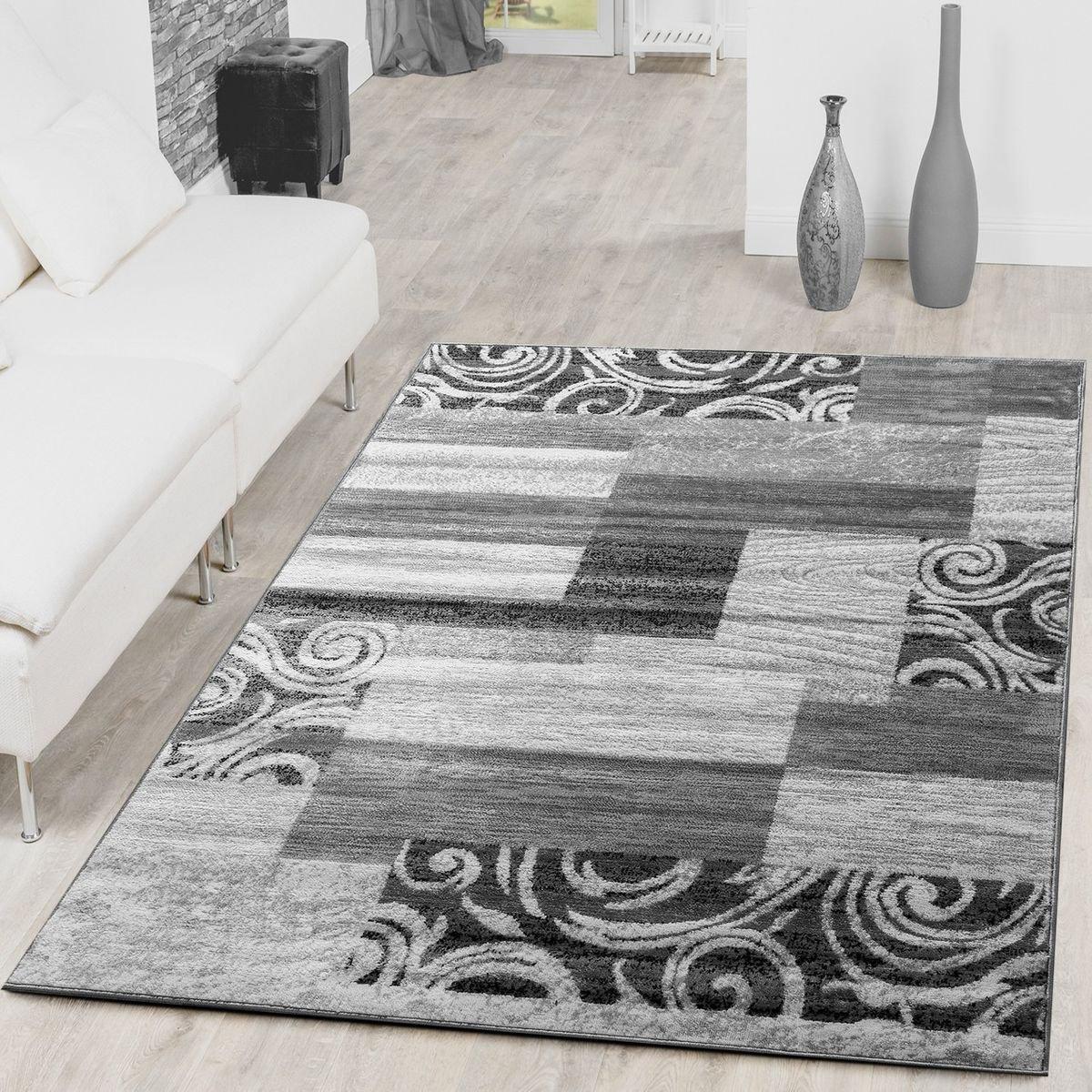 Teppich Günstig Patchwork Design Modern Wohnzimmerteppich Grau Creme, Größe 240x340 cm