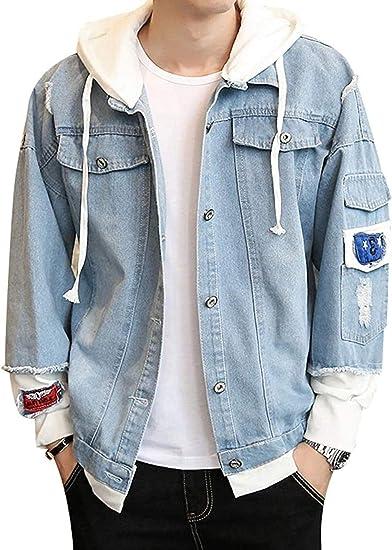 Men's Coat Fake Two-Piece Hooded Denim Jacket Over size Hoodie