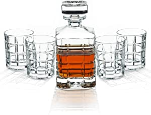 Whiskey Decanter Sets Crystal Glass Decanter for Alcohol 28 oz by Kemstood – Square Engraved Decanter for Men and Women – Personalized Gift Set with 4 Glasses for Liquor, Scotch, Bourbon, Brandy